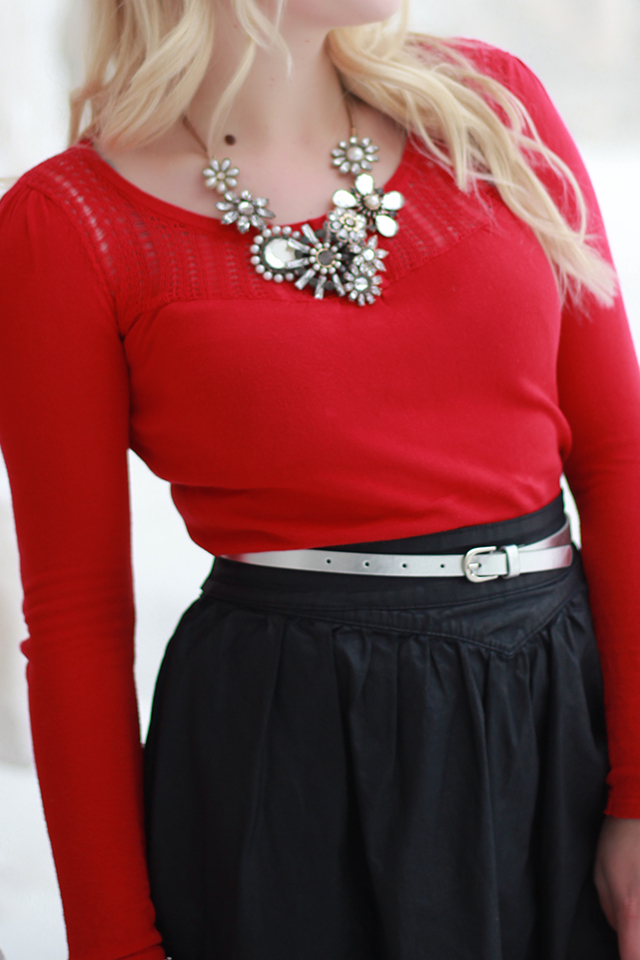 How to wear a brooch necklace - inspiration from a Winnipeg fashion blogger.