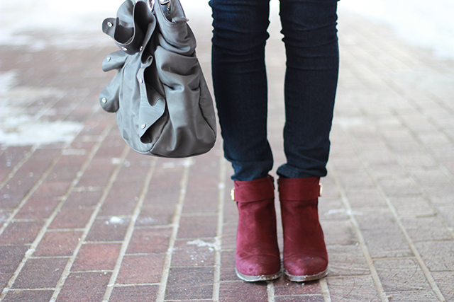 How to wear wine coloured boots.  Inspiration from a Winnipeg fashion blogger.