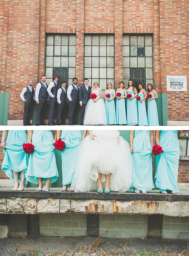 Red and aqua Winnipeg wedding. Flowers: Floral Fixx.  Photography: Kamp Photography.  Location: Evergreen Village.  Cakes & Cupcakes: Cake-ology.  Linens: Dream Day Decorators.  Bridesmaid Dresses: Liz Fields via L.A. Collections.  Bridal gown: Vera Wang via David's Bridal.