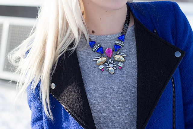Royal blue jacket (Forever 21) & colorful art deco necklace