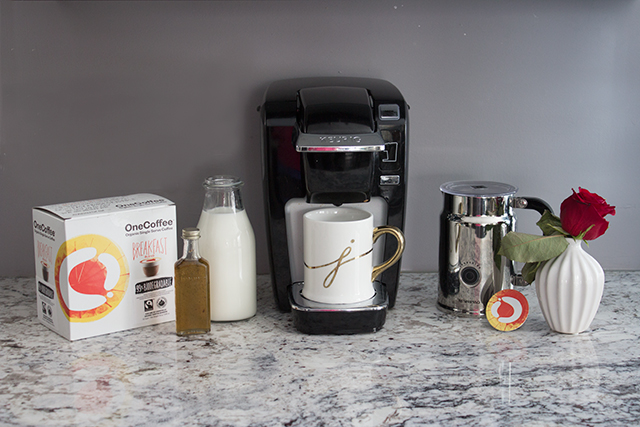 Ingredients for making an organic vanilla bean coffee with OneCoffee Keurig pods.