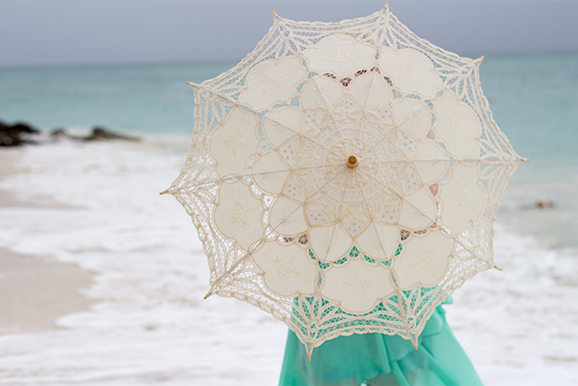 Parasol on the beach, in Freeport, Bahamas.