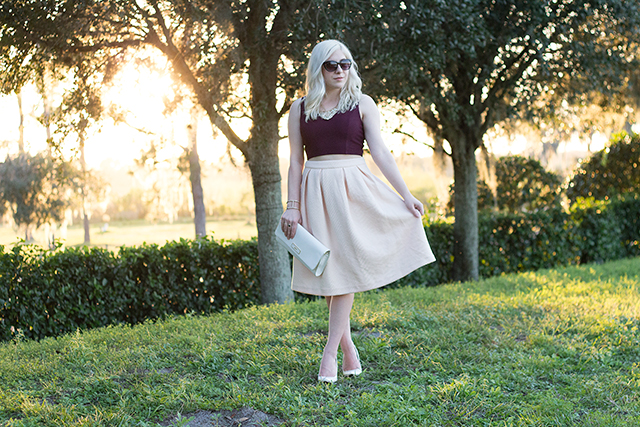 Jennifer Ashley of Pretty Little Details in a quilted blush skirt with white accessories.