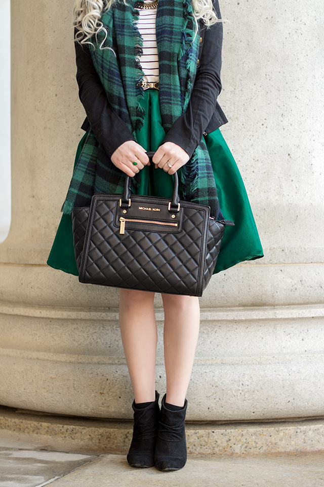 An emerald green St. Patrick's Day outfit plus some advice on how to mix patterns in a single outfit!