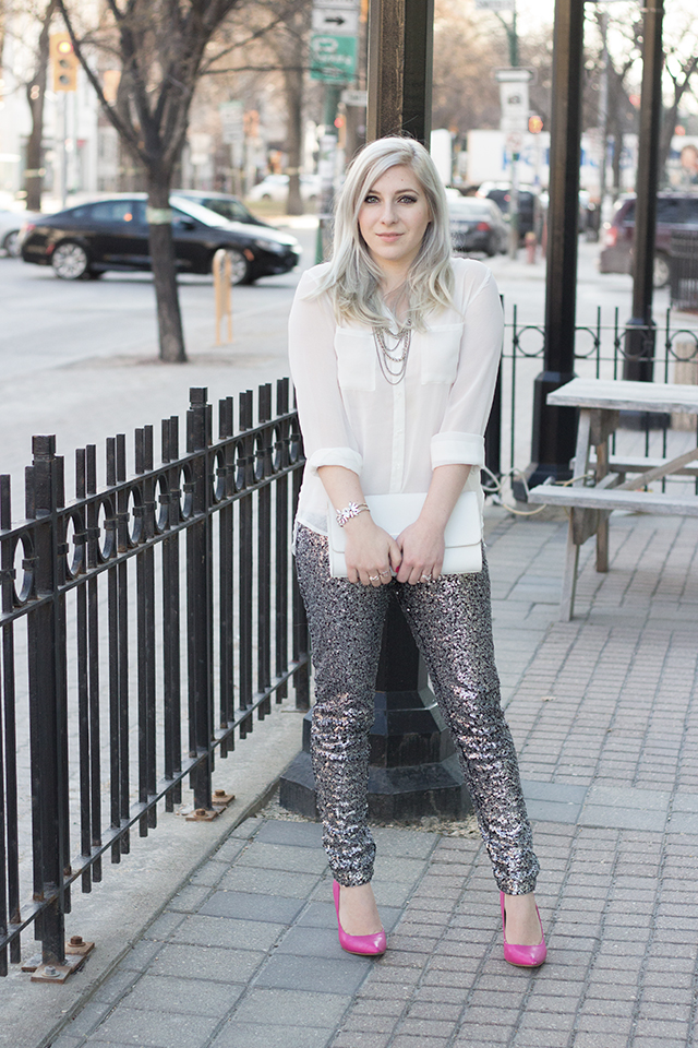 White chiffon shirt with Glitter pants.