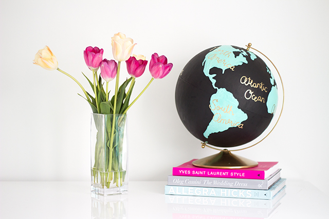 Finished, hand painted anthropology inspired wanderlust globe.