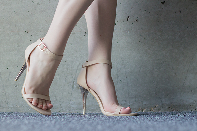 Nude ankle strap heels from Le Chateau.