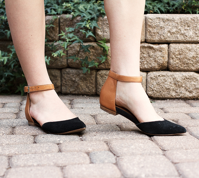 Two-tone ankle strap flats.