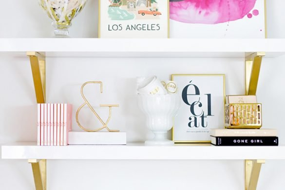 styling pink and gold shelves