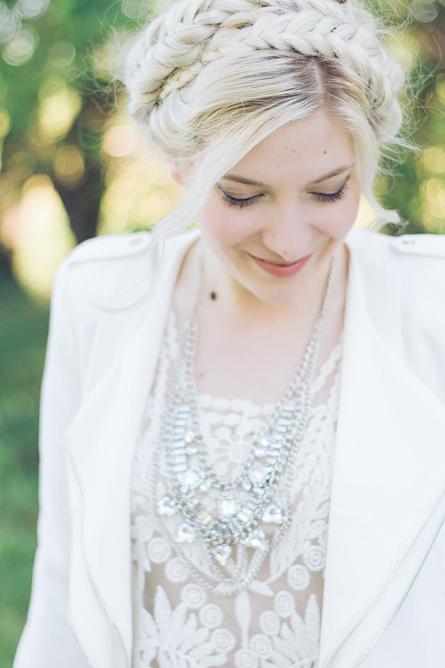 fishtail maiden braids on bleach blonde hair