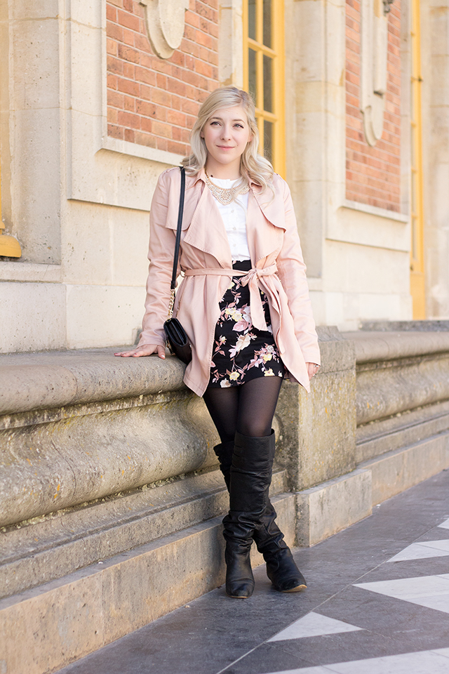 Paris in the fall - pink trench coat and dark florals.