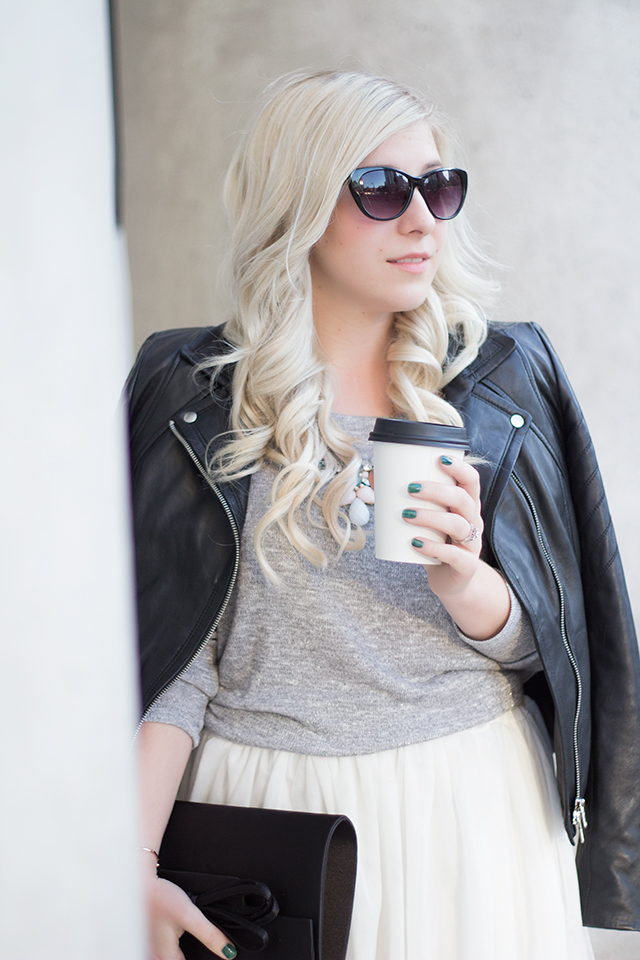 White tulle skirt with soft grey sweater & leather biker jacket  // Fall outfit inspiration via Pretty Little Details