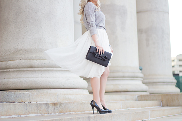 White tulle skirt with soft grey sweater & black accessories // Fall outfit inspiration via Pretty Little Details
