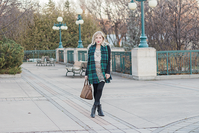 Winter outfit inspiration with a green plaid blanket scarf