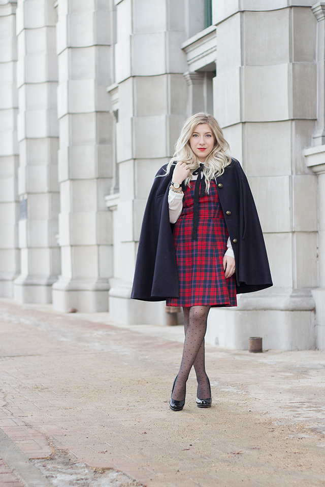 Plaid red dress with pussybow blouse // Holiday Outfit Inspiration via Pretty Little Details