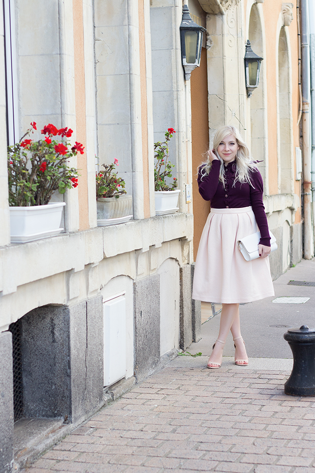Outfit Inspiration // Quilted blush pink midi skirt and victorian inspired ruffled sweater // Pretty Little Details fashion & lifestyle blog