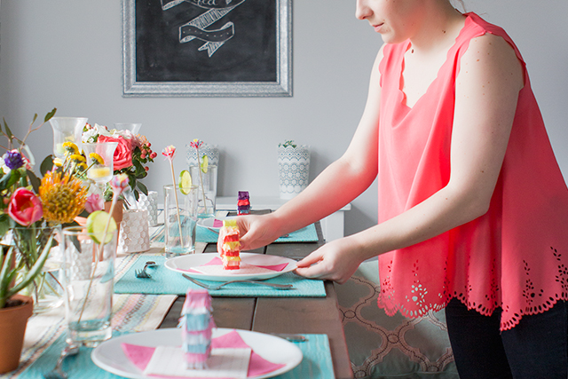 A bright diy Cinco de Mayo dinner party fiesta complete with mini pinatas!