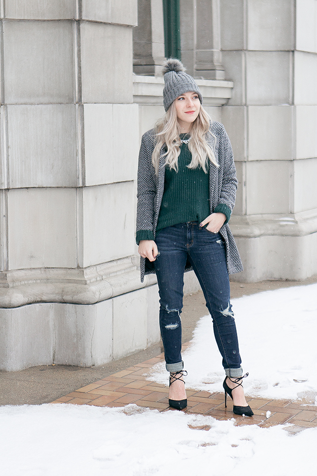 Destroyed denim via Bootlegger Jeans // Simple winter outfit styling
