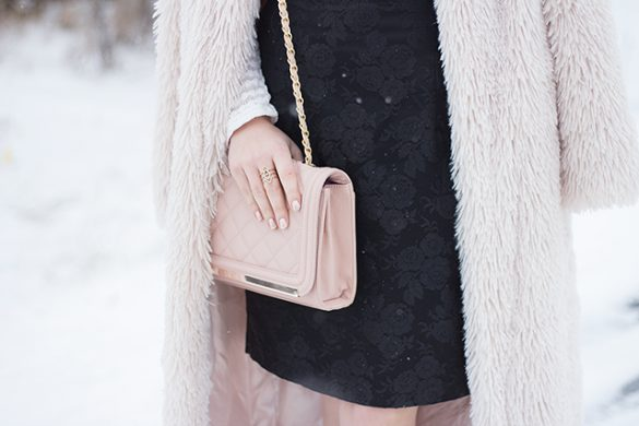 Holiday fashion inspiration - Blush and Cream outfit with faux fur duster and vintage floral skirt.