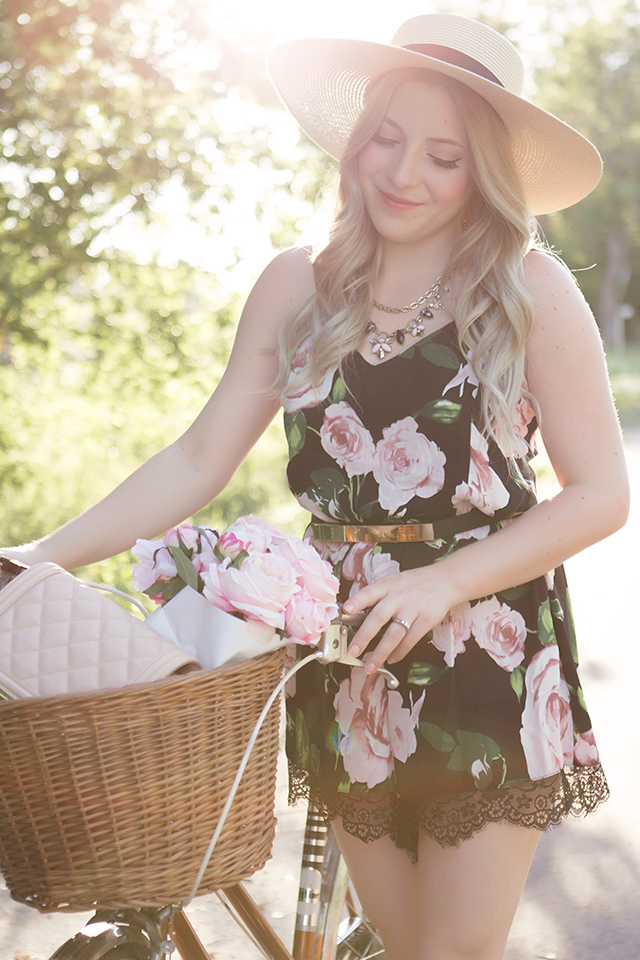 Summer outfit inspiration // Floral lace romper with straw boater hat & Steve Madden lace up flats.