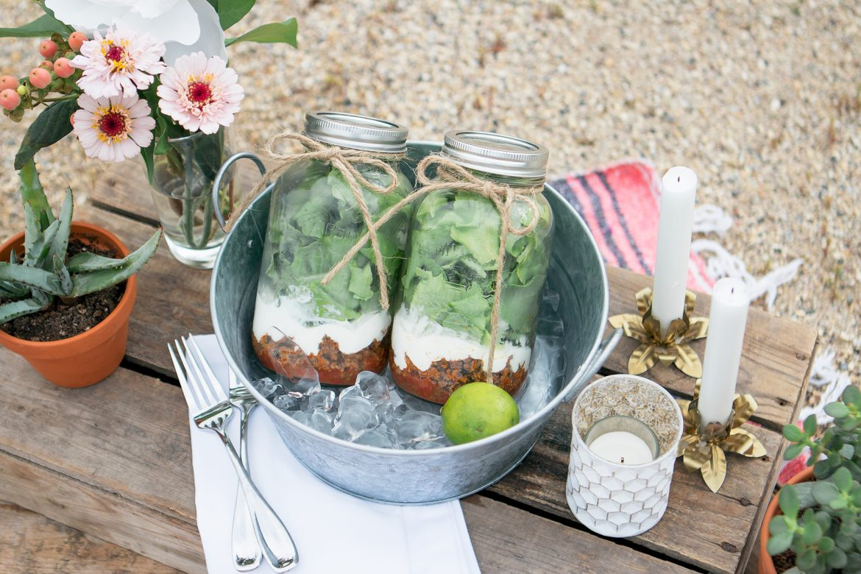 Homemade taco salad in a jar - featuring Old El Paso