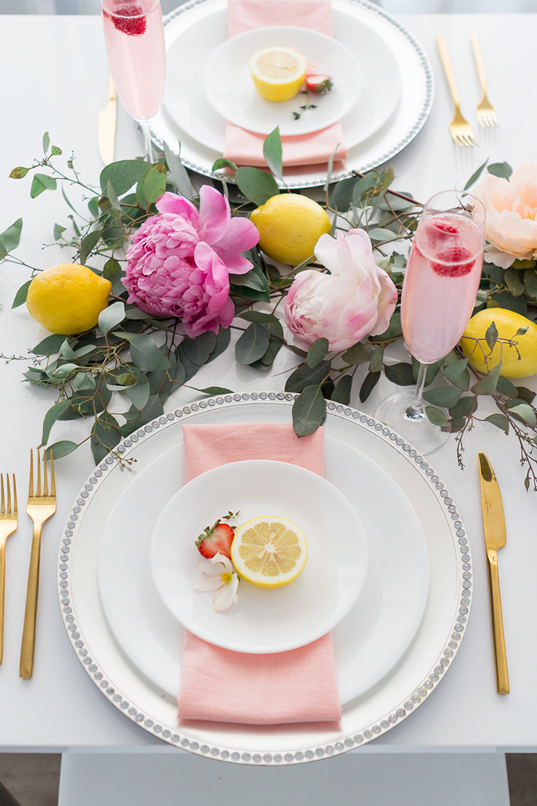 Sweet summer brunch party filled with peonies, lemons and pretty dresses.