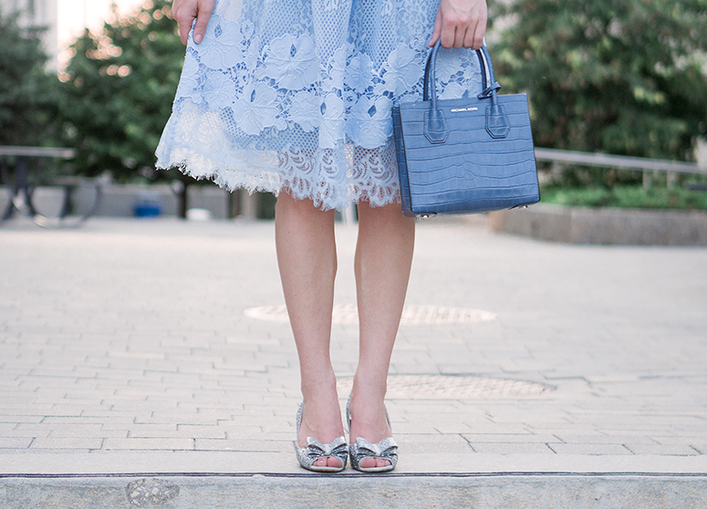 Defining your personal style // Outfit inspiration post. Metsiu lace dress. Kate Spade sparkle bow heels. Michael Kors mercer handbag.