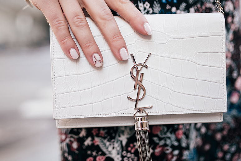 New York Fashion Week - Blogger Street Style // YSL white crocodile Kate monogram bag