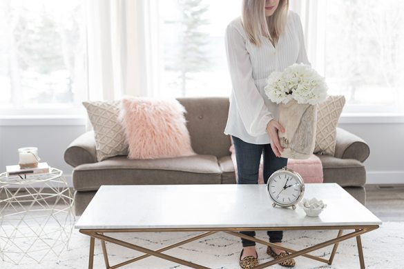 Spring home decor trends: Blush pink and natural textures.