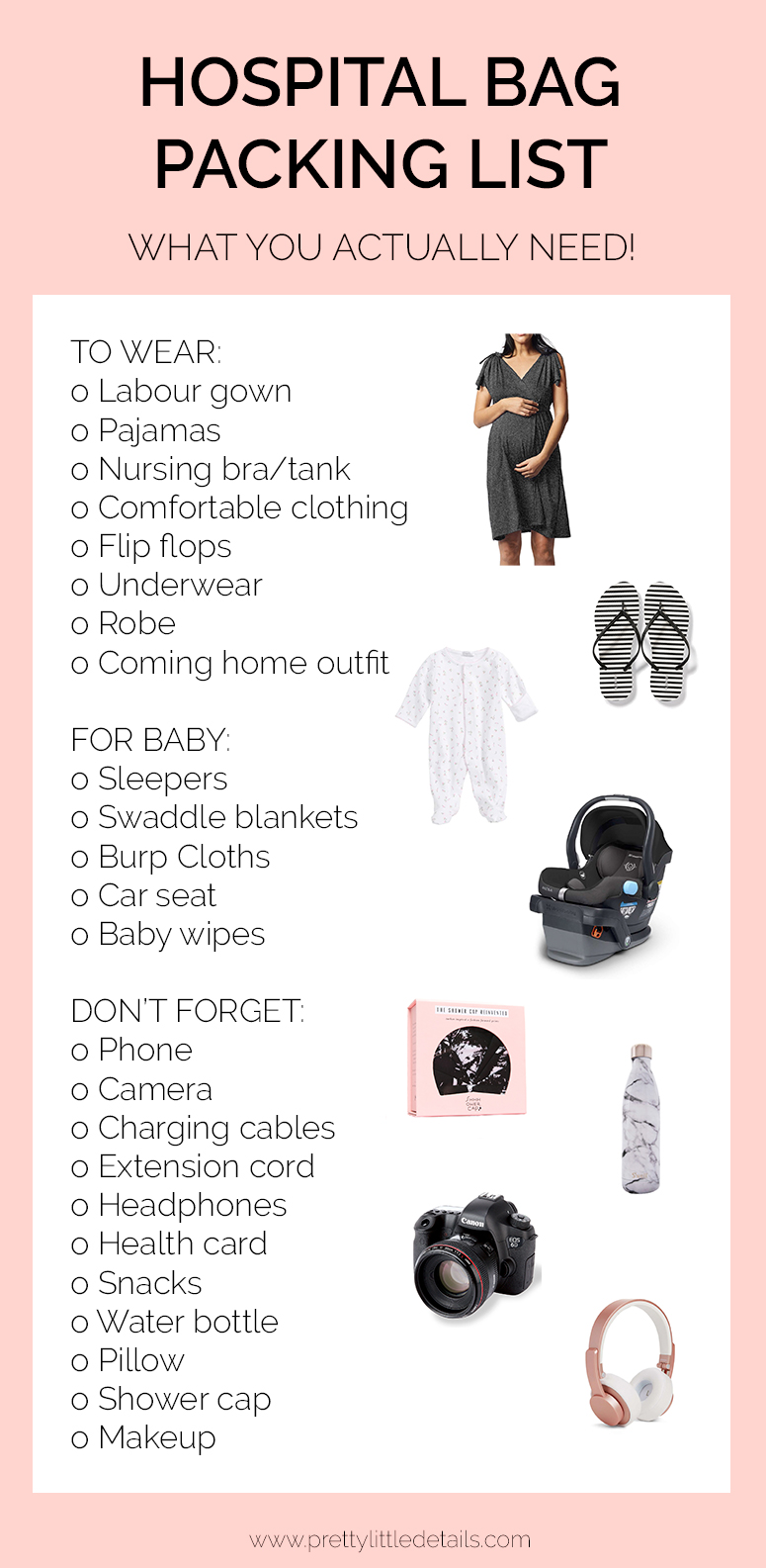 Hospital bag packing list. What to bring for labour and birth.