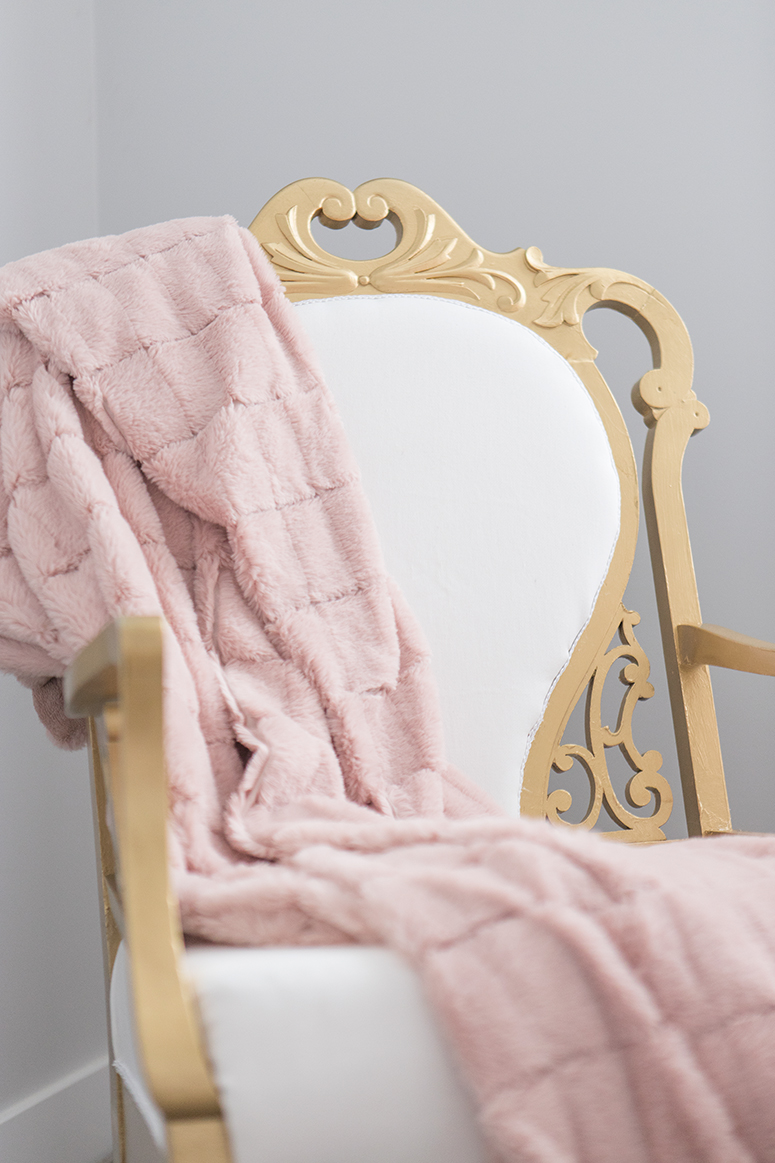 Little girl nursery reveal. White and gold kids bedroom with dusty blush pink accents and subtle swan theme.