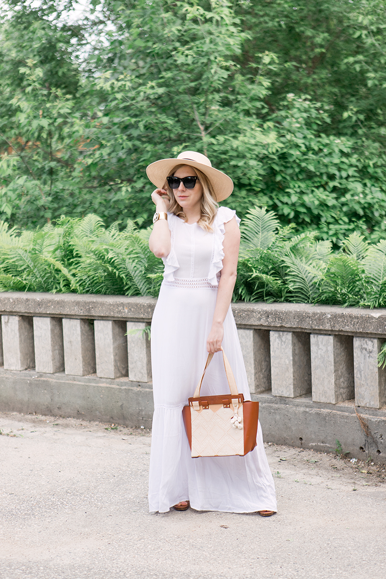 Chic summer outfit inspiration. White sundress with Give Guatemala artisan handbag.