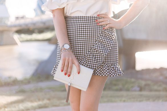 Wrap front skirts - vintage outfit inspiration with gingham and ruffles.