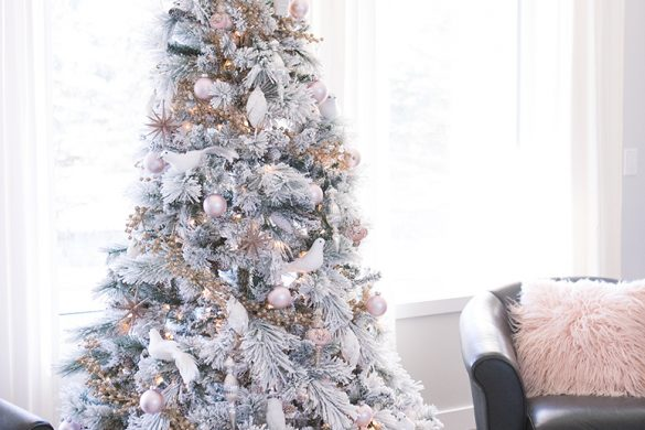 Flocked pink and white christmas tree.