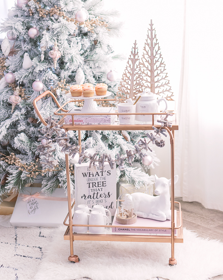 Holiday bar cart inspiration. A whimsical woodland tea and dessert station.