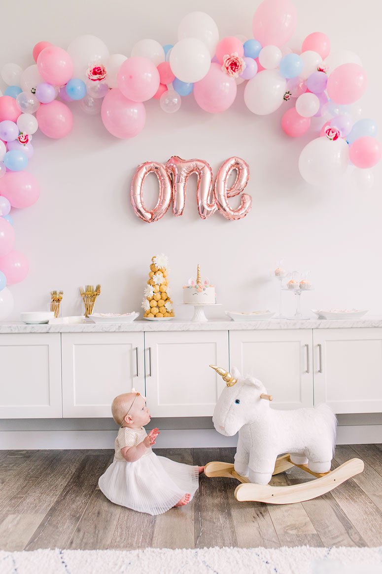 Unicorn themed girls first birthday party.
