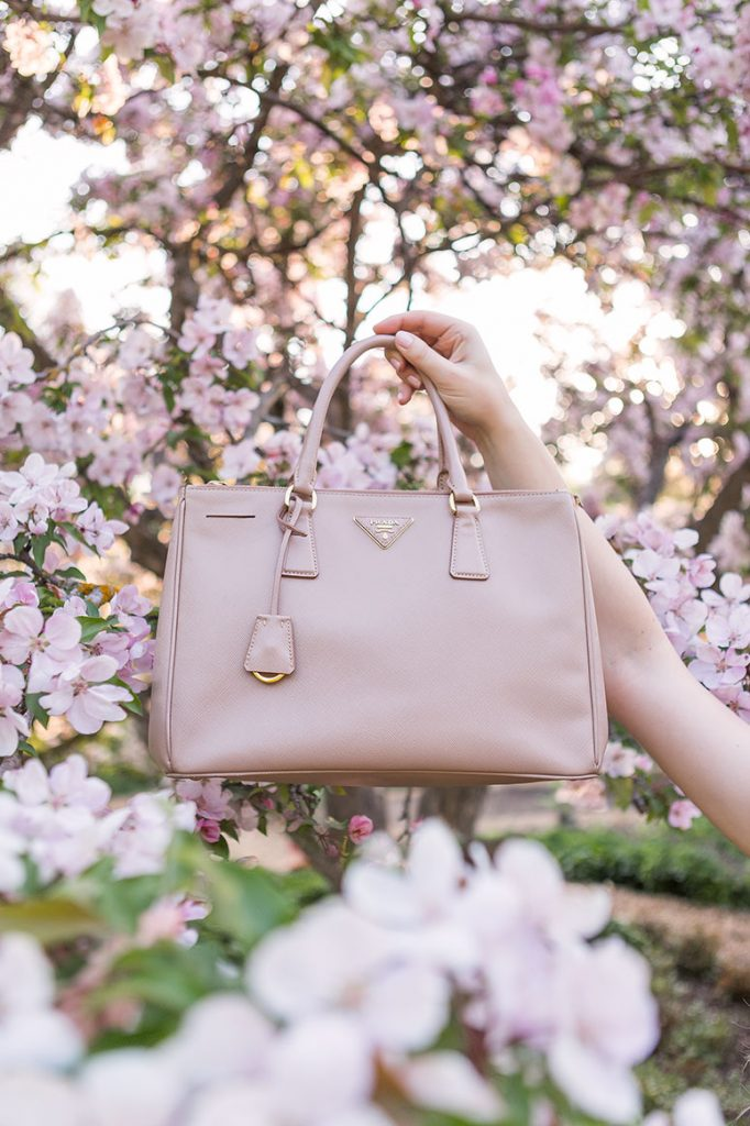 Beige pink large Prada Galleria bag.