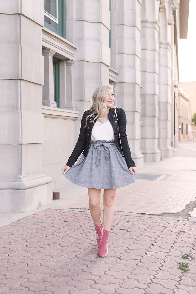 Outfit idea: Military jacket with basic white cami tank, pink velvet booties and a white YSL Kate purse.