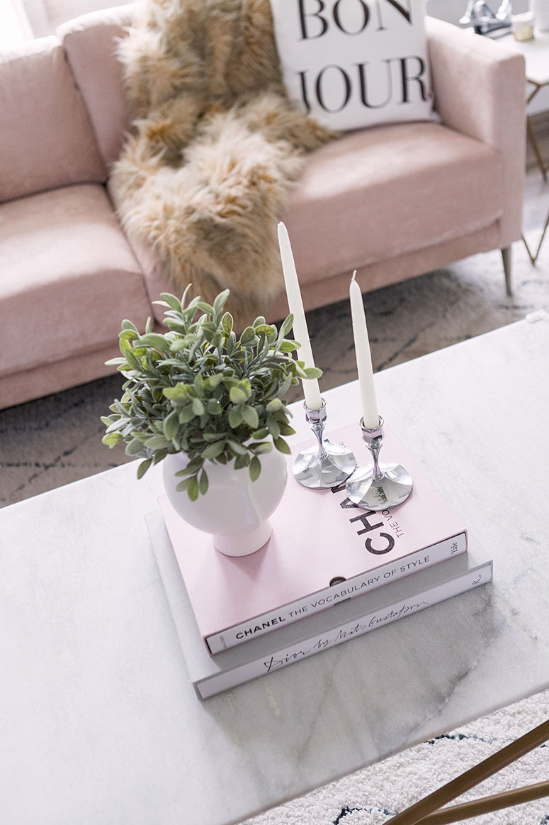 A bright modern living room with a blush pink sofa. Inside the home of Canadian decor blogger Jennifer Ashley of Pretty Little Details.
