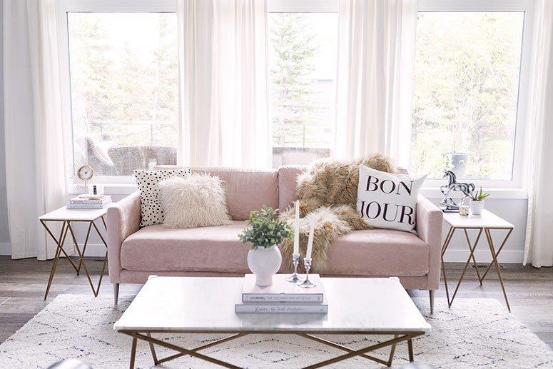 Blush Pink Sofa Living Room Decor