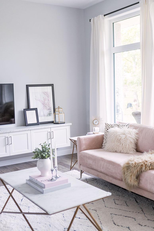 Blush Pink Sofa Living Room Decor Inspiration Pretty