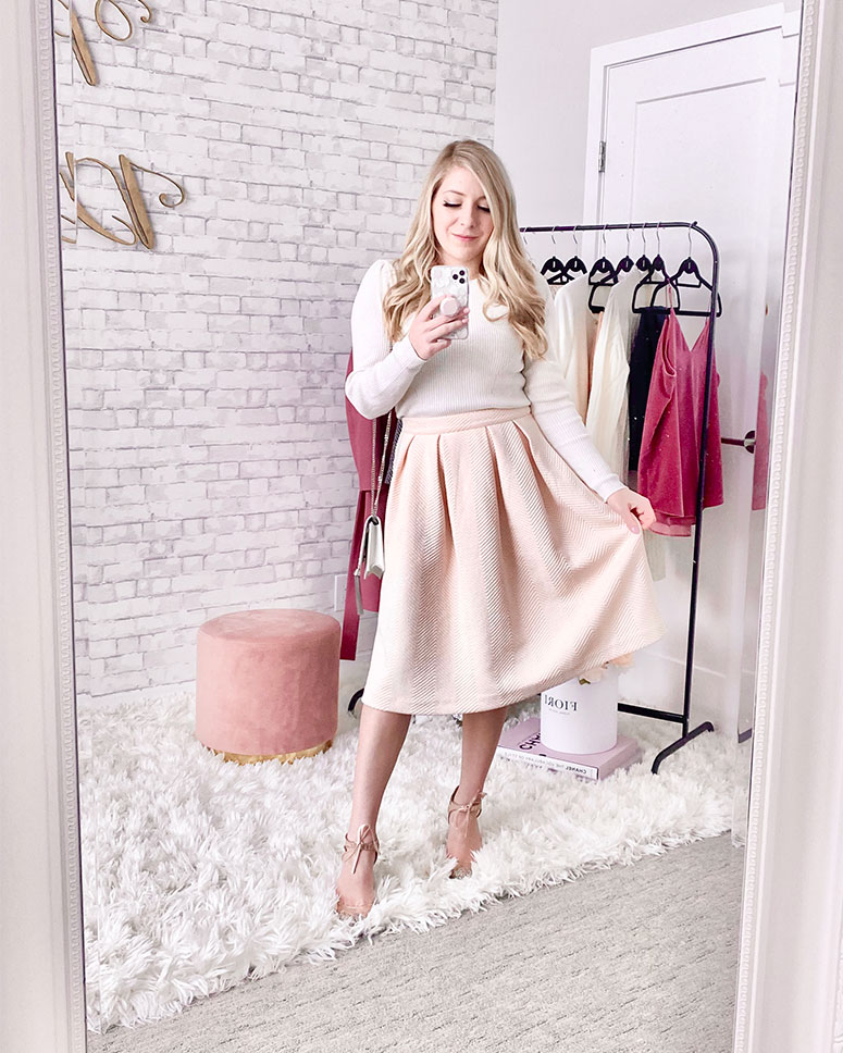 Valentines day outfit ideas - Girly outfit with blush pink midi skirt and sparkly shoes