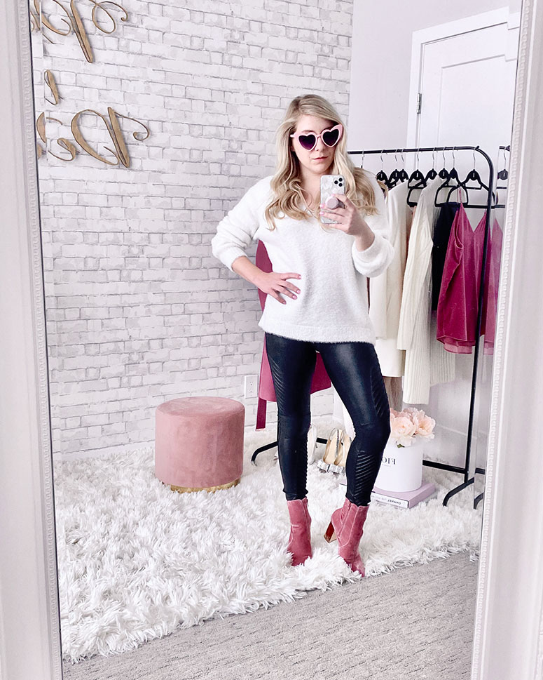 Valentines day outfit ideas - Cozy outfit with pink velvet booties and spanx moto leggings