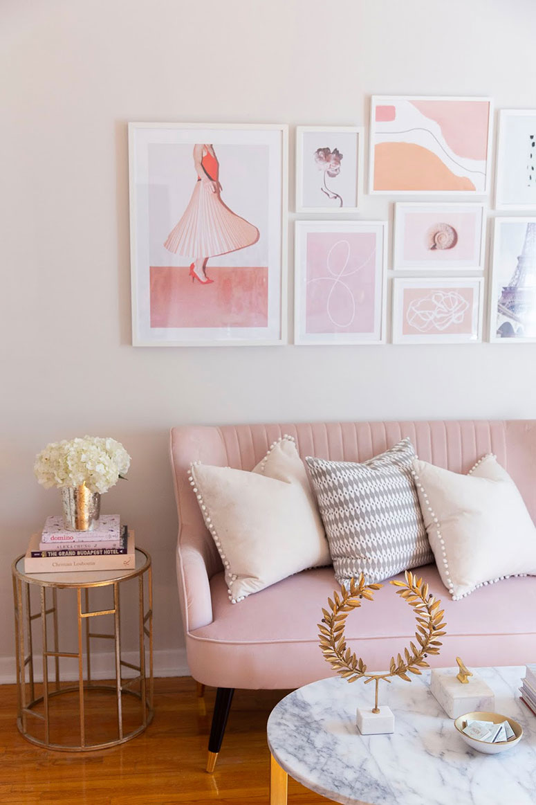 Pink home office inspiration photos | One room challenge spring 2020