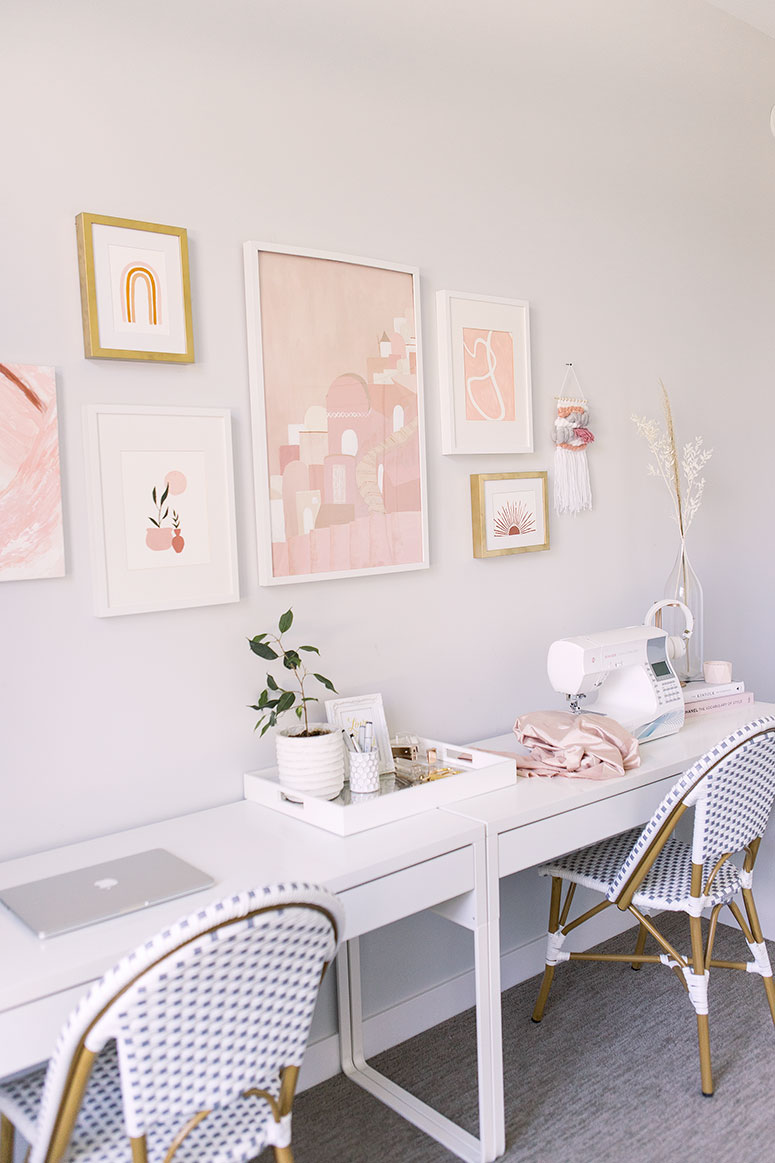 Feminine Boho Office and Guest Bedroom // One Room Challenge makeover reveal